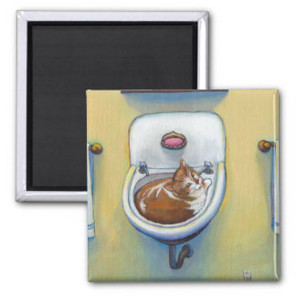 Cat in the sink painting fun happy whimsical art magnet