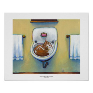 Cat in the sink painting fun happy whimsical art poster
