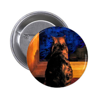 Cat in the Window 2 Inch Round Button