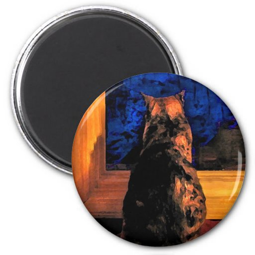 Cat in the Window 2 Inch Round Magnet