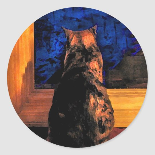 Cat in the Window Classic Round Sticker