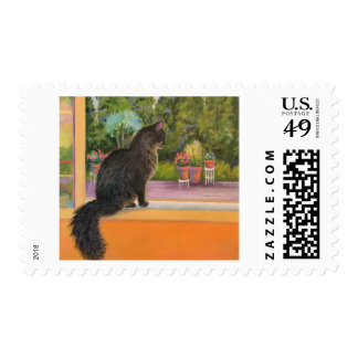 Cat in The Window Postage