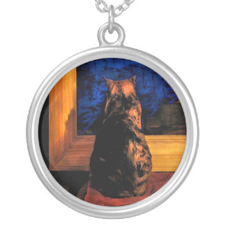 Cat in the Window Silver Plated Necklace