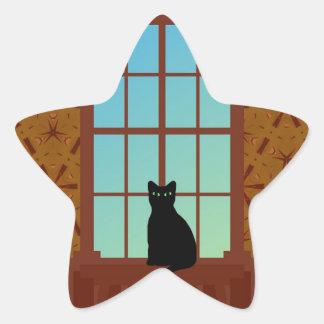 Cat in the window star sticker