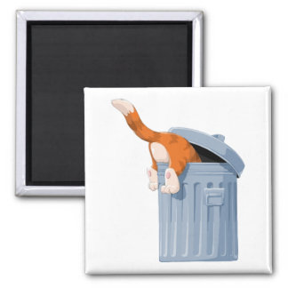 Cat in Trash Can - Bottoms Up 2 Inch Square Magnet