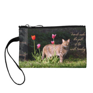 Cat in Tulips Coin Purse