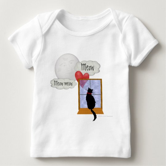 Cat in window looking at moon and sending heart baby T-Shirt