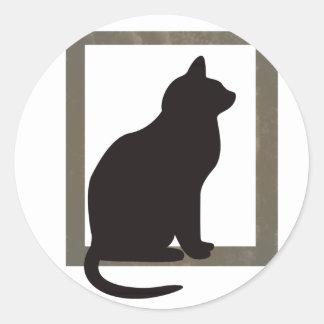 Cat In Window Round Stickers