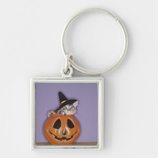 Cat in witch hat inside pumpkin Silver-Colored square keychain