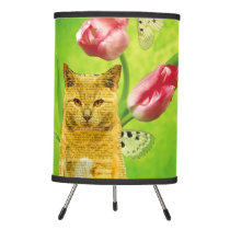 CAT INT HE TULIPS-DECORATIVE TABLE LAMP