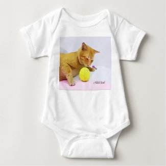 Cat is playing tennis ball baby bodysuit