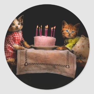 Cat - It's our birthday - 1914 Classic Round Sticker