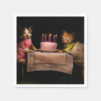 Cat - It's our birthday - 1914 Napkin