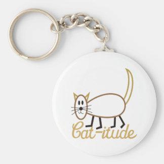 Cat-itude Attitude Basic Round Button Keychain