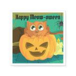 Cat & Jack O'Lantern Happy Halloween Party Napkin