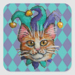 Cat Jester on Harlequin print stickers