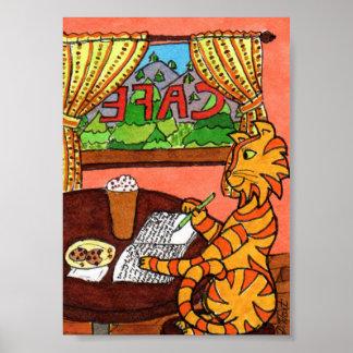 Cat Journaling in a Coffee Shop Mini Folk Art Poster