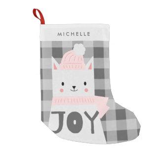 Cat, Joy, Winter, Personalized Small Christmas Stocking