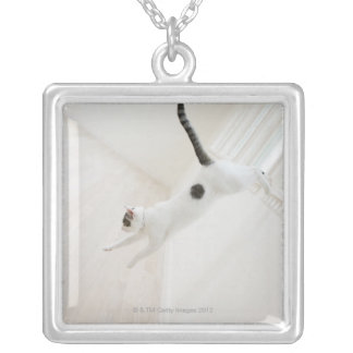 Cat jumping square pendant necklace