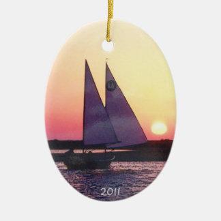 Cat Ketch Sailing Sunset Ornament