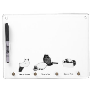 Cat Keychain Holder w Dry Erase, Customizable Dry Erase Board With Keychain Holder