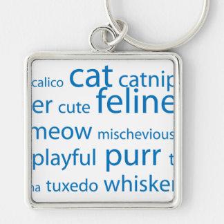 Cat Keyword Tag Cloud Keychain