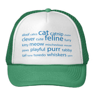 Cat Keyword Tag Cloud Trucker Hat