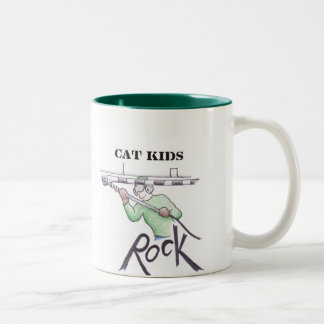 Cat Kids ROCK Two-Tone Coffee Mug