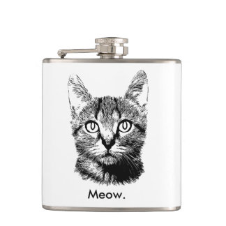 Cat Kitten Cute Meow Hand Drawn Black & White Flask