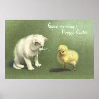 Cat Kitten Easter Chick Poster