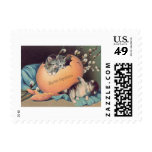 Cat Kitten Easter Colored Egg Cotton Postage