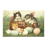 Cat Kitten Easter Colored Painted Egg Chick Stretched Canvas Prints