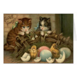 Cat Kitten Easter Colored Painted Egg Chick Greeting Card