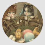 Cat Kitten Easter Colored Painted Egg Chick Classic Round Sticker