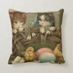 Cat Kitten Easter Colored Painted Egg Chick Throw Pillows
