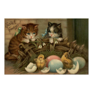 Cat Kitten Easter Colored Painted Egg Chick Poster