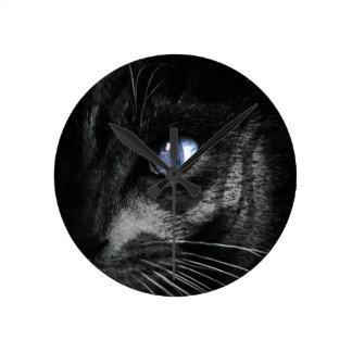 Cat Kitten Eye Stare Look Animal Round Clock