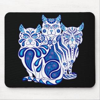 Cat kitten folk blue delft Patches/Stripes/Bobbles Mouse Pad