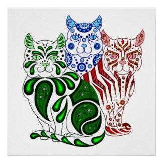 Cat kitten folk blue delft Patches/Stripes/Bobbles Poster