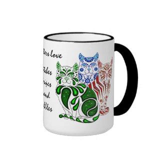 Cat kitten folk blue delft Patches/Stripes/Bobbles Ringer Mug