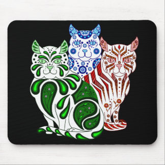 Cat kitten folk delft Patches/Stripes/Bobbles Mouse Pad