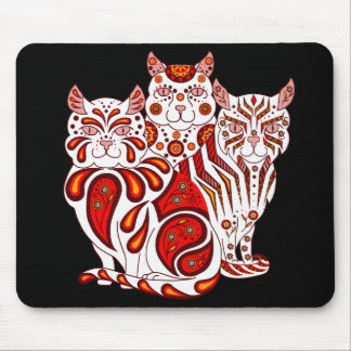 Cat kitten folk red delft Patches/Stripes/Bobbles Mouse Pad