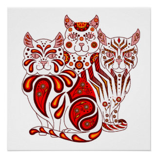 Cat kitten folk red delft Patches/Stripes/Bobbles Poster