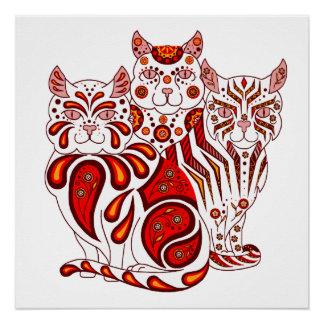 Cat kitten folk red delft Patches/Stripes/Bobbles Poster