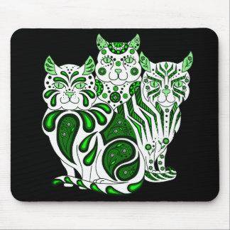 Cat kitten green folk delft Patches/Stripes/Bobble Mouse Pad