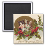Cat Kitten Holly Winterberry 2 Inch Square Magnet