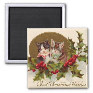 Cat Kitten Holly Winterberry Magnet