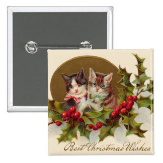 Cat Kitten Holly Winterberry Pinback Button