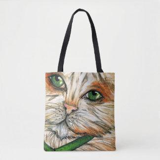 Cat Kitten Pastel Drawing, Feline Face Whiskers Tote Bag