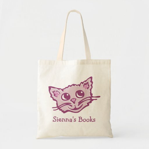 Cat kitten pink hued library book bag